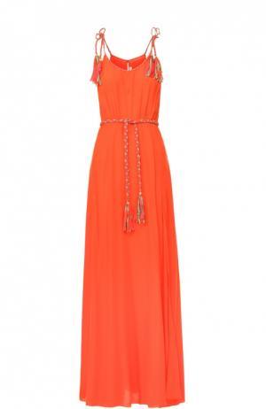 Шелковое платье-макси с декоративной отделкой и высоким разрезом Lazul. Цвет: оранжевый