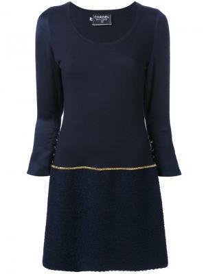 Платье с цепочкой Chanel Vintage. Цвет: синий