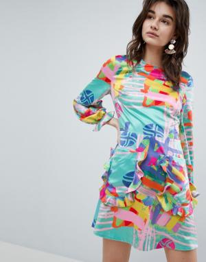 House of Holland Платье мини с принтом Nova. Цвет: мульти
