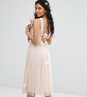 Maya Платье миди с отделкой и двумя бантами Bow. Цвет: розовый