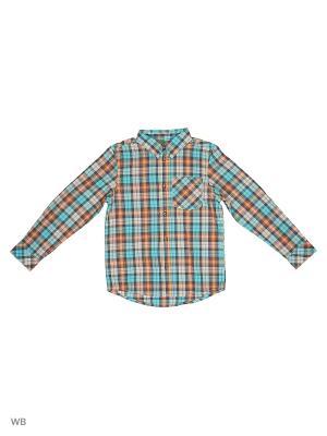 Рубашка United Colors of Benetton. Цвет: голубой, оранжевый