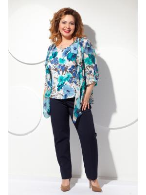 Блузка Modellos. Цвет: синий, бирюзовый, светло-серый
