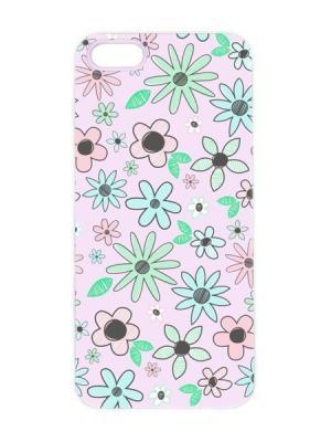 Чехол для iPhone 5/5s Цветные ромашки Арт. IP5-002 Chocopony. Цвет: белый, розовый, черный