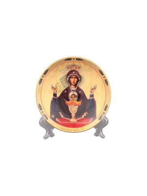 Тарелка декоративная Пресвятая Богородица Неупиваемая Чаша Elan Gallery. Цвет: золотистый, коричневый, красный