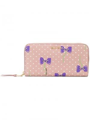 Кошелек с принтом бантов Miu. Цвет: розовый и фиолетовый