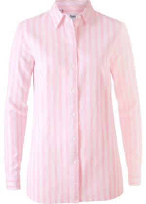 Блузка в смеси льна и хлопка (розовая пудра/белый полоску) bonprix. Цвет: розовая пудра/белый в полоску