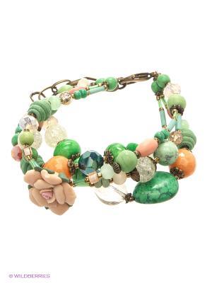 Браслет Роман с камнем. Цвет: зеленый, оранжевый, розовый