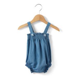 Шаровары из джинсовой ткани, 1 мес. - 3 года La Redoute Collections. Цвет: синий деним