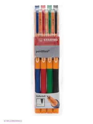 Ручка, 4 цв. Stabilo. Цвет: синий, зеленый, красный