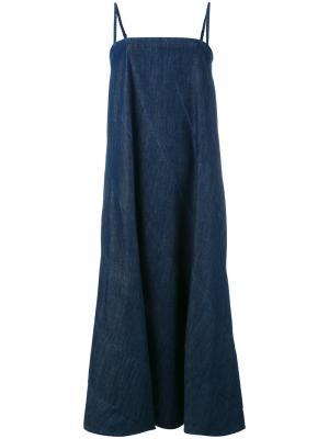 Джинсовое платье на тонких лямках 6397. Цвет: синий