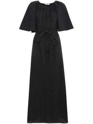 Платье макси в горох Marysia. Цвет: чёрный