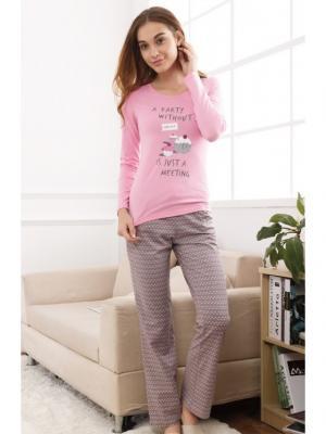 Пижама INDEFINI. Цвет: серый, розовый