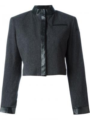 Укороченный пиджак с контрастной окантовкой Stephen Sprouse Vintage. Цвет: серый