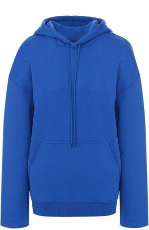 Толстовка прямого кроя с карманом и капюшоном Balenciaga. Цвет: синий