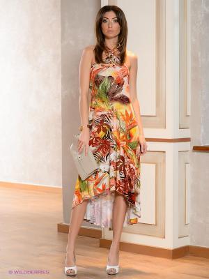 Платье МадаМ Т. Цвет: оранжевый, персиковый, зеленый, коричневый, красный