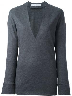 Пуловер с глубоким V-образным вырезом 08Sircus. Цвет: серый