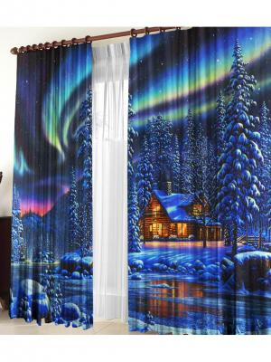 Комплект фотоштор Северное сияние ZLATA KORUNKA. Цвет: синий