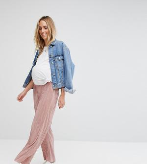 ASOS Maternity Плиссированные кюлоты. Цвет: розовый