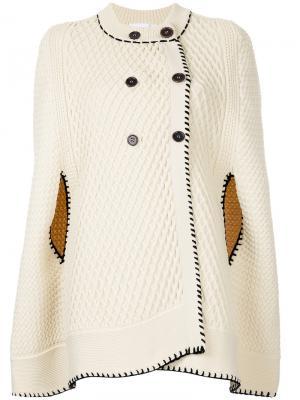 Двубортное пальто-кейп Sonia Rykiel. Цвет: телесный