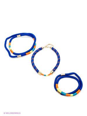 Колье, 3 шт. Kameo-bis. Цвет: синий, оранжевый