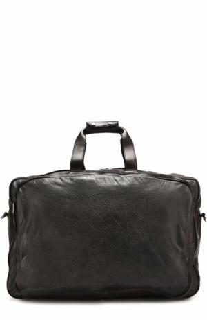 Кожаная дорожная сумка с плечевым ремнем Numero 10. Цвет: черный