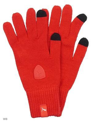 Перчатки FERRARI LS knitted gloves PUMA. Цвет: красный
