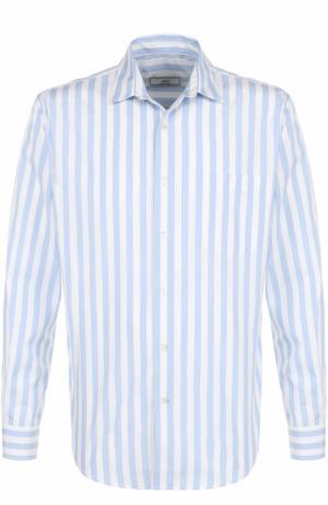 Хлопковая рубашка свободного кроя в контрастную полоску Ami. Цвет: синий