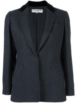 Пиджак с бархатной отделкой Guy Laroche Vintage. Цвет: серый