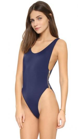 Сплошной купальник Zissou со смелым овальным вырезом и боковой молнией OYE Swimwear. Цвет: темно-синий