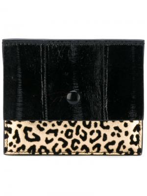 Кошелек для карт с леопардовым узором Corto Moltedo. Цвет: чёрный