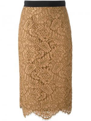 Кружевная юбка-карандаш Marco Bologna. Цвет: коричневый