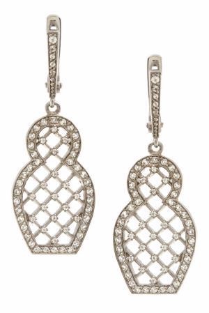 Серебряные серьги «Матрешка» с бесцветными топазами Axenoff Jewellery. Цвет: серебряный