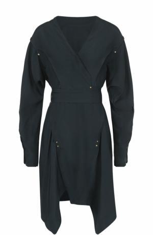 Шелковое мини-платье асимметричного кроя Isabel Marant. Цвет: темно-зеленый
