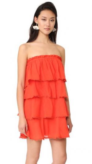Многоуровневое платье Candy с оборками Red Carter. Цвет: леденец