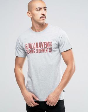 Fjallraven Серая футболка с логотипом. Цвет: серый