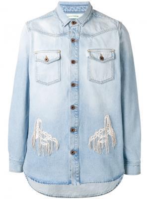 Джинсовая рубашка с рваными деталями Off-White. Цвет: синий