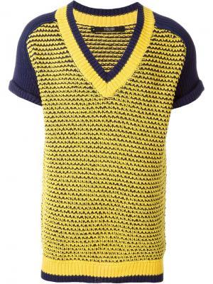 Сетчатый свитер с короткими рукавами Sibling. Цвет: жёлтый и оранжевый