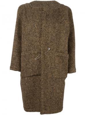 Твидовое пальто на булавке Daniela Gregis. Цвет: коричневый