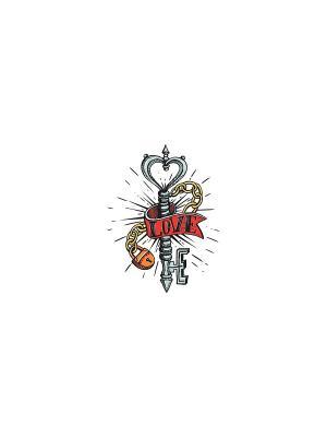 Временная переводная татуировка Ключ от Сердца МнеТату. Цвет: белый, черный, синий, зеленый, голубой, красный, желтый