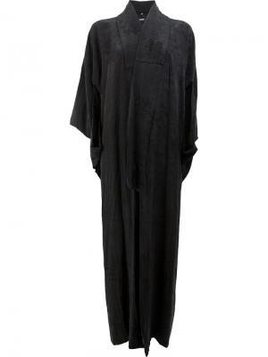 Длинное пальто Blackyoto. Цвет: чёрный