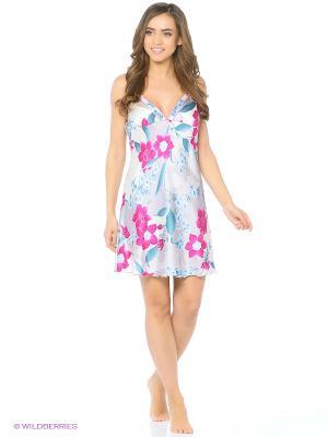 Ночная сорочка Del Fiore. Цвет: светло-серый, фуксия