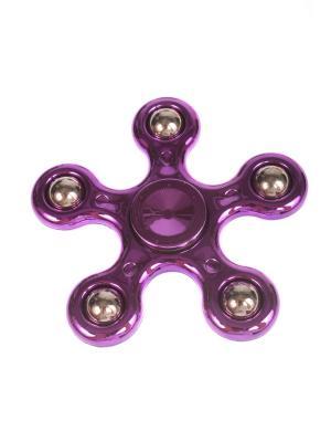 Спиннер глянцевый металлик улучшенный с шариками-утяжелителями однотонный, розовый Радужки. Цвет: синий