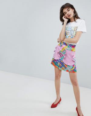 House of Holland Мини-юбка с контрастными карманами и оборками. Цвет: мульти