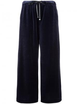 Бархатные брюки палаццо Astraet. Цвет: синий