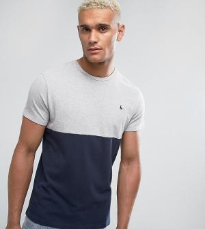 Jack Wills Темно-синяя футболка узкого кроя из пике в стиле колор блок. Цвет: темно-синий
