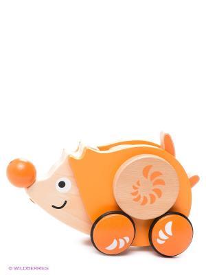Игрушка развивающая деревянная каталка Ежик HAPE. Цвет: желтый, оранжевый