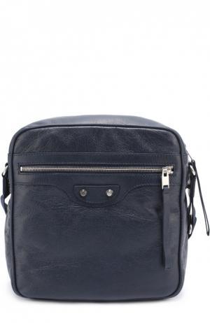 Кожаная сумка-планшет Reporter Balenciaga. Цвет: темно-синий