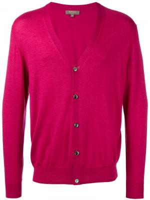 Кардиган на пуговицах N.Peal. Цвет: розовый и фиолетовый