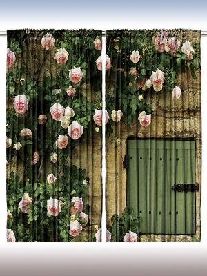 Фотошторы Розовые цветы, 290*265 см Magic Lady. Цвет: зеленый, бежевый