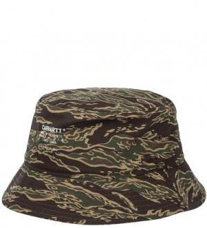 Шляпа-панама из хлопка с камуфляжным принтом Carhartt WIP. Цвет: хаки